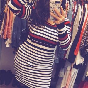 Stripped sweater dress